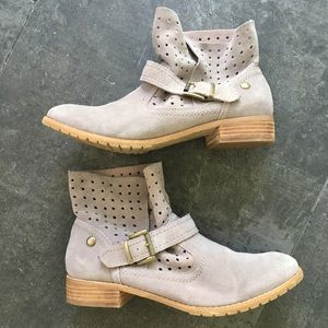 RESTRICTED Gray Perforated Leather Ankle Boots